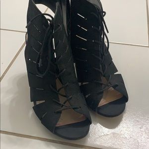 Lace up stacked heel sandals